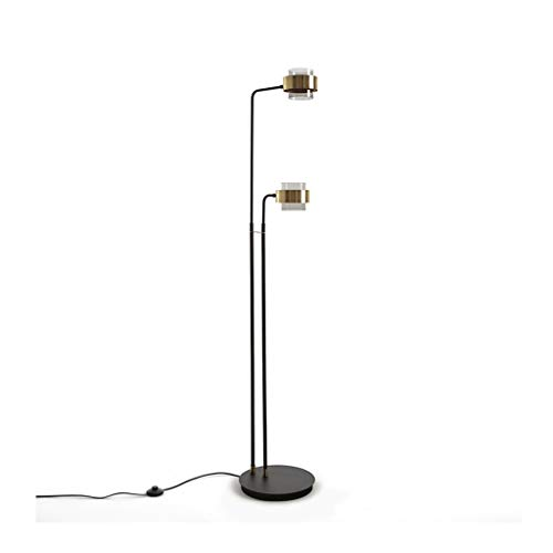 Floor Lamp-LED Dubbel-geleide Floor Light-Living Room Creative Gebogen Vertical Light Slaapkamer Verstelbare Staande leeslamp DZE (Color : Black, Size : 35cm*170cm)
