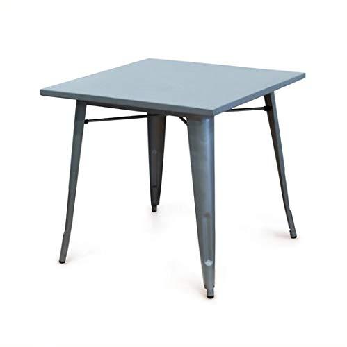 HKM004 Mesa metálica color gris estilo vintage para comedor, cocina , balcón , terraza interior,habitación juvenil, hostelería