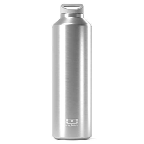monbento MB Steel Silver grau - Trinkflasche Edelstahl isolierte BPA frei raut - Thermosflasche - Isotherme Flasche mit Infusor
