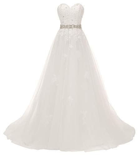 Nicefashion Women's Beaded Lace Applique Wedding Gown with Detachable Bowknot White US14