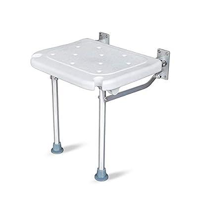 Silla de baño plegable para ducha, con orificio antideslizante para desagüe de pie