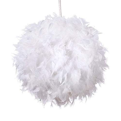 TIEMORE Colgante de pluma blanca para techos Tejido de pluma esponjosa para...