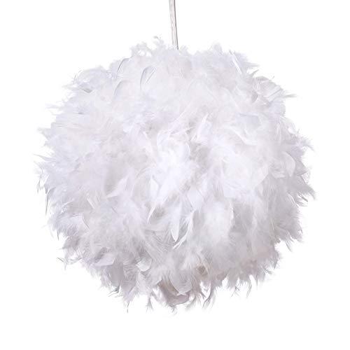 TIEMORE Colgante de pluma blanca para techos Tejido de pluma esponjosa para lámpara de mesa y piso, dormitorio, salón, decoración de boda o fiesta, diámetro 30 cm, blanco