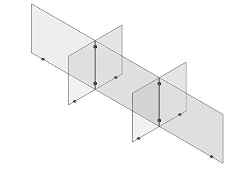 Cafeteria Plexiglass Table Divider Sneeze Guard by Accelevation - 96'L x 30'W x 24'T - 6 Person Cell