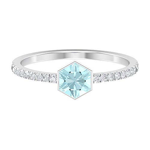 Rosec Jewels 14 quilates oro blanco round-brilliant-shape Hexagon H-I Blue Diamond Topacio azul - Cielo