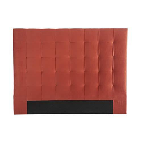 Miliboo Tête de lit capitonnée Velours Terracotta 160 cm HALCIONA