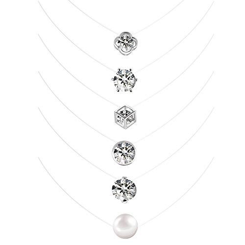 Halskette Nylonkette Transparent 6 Stück Enganliegende Kette mit Schwebender Stein Zirkonia für Damen Mädchen 6mm 8mm 10mm Anhänger