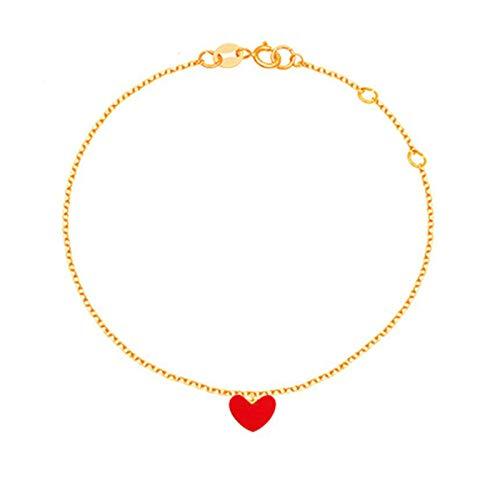 Beydodo Fuss Kette Gold 750 Damen, Fußkette Charm mit Herz Anhänger Strand Kette Barfuß 24CM
