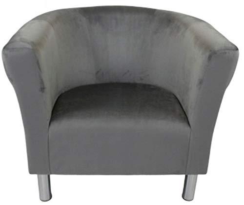 MARTHOME 605/5000 Sillón Club Trio, sillón tapizado, puf, Taburete, sillón de cóctel, Tejido de Terciopelo, Felpa, sillón Lounge, Oficina, Dormitorio, Sala de Espera (Gris Claro)