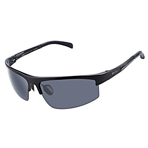 DUCO Herren Sportbrille Polarisierte Sonnenbrille Fahrerbrille 8203 (Schwarz/Grau)