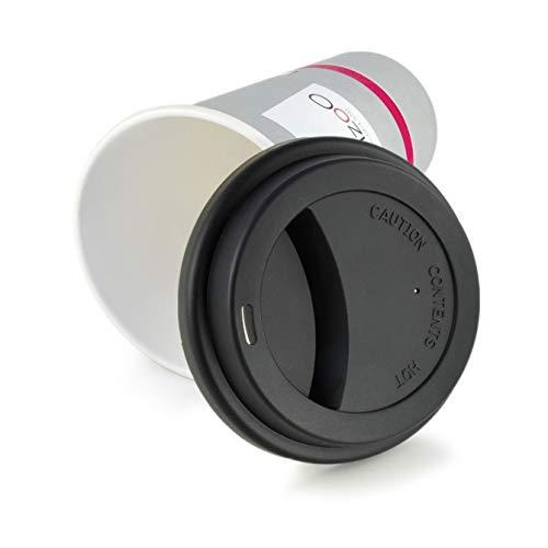 2er SET, modischer schwarzer Kaffeedeckel aus lebensmittelneutralem Silikon, Silikondeckel, Deckel, coffee cup cap, Becherdeckel, Trinkdeckel, Marke Ganzoo