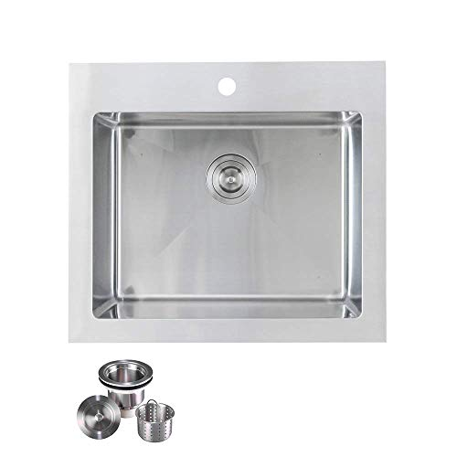 """KABCO K-SSLA01-PKG Laundry Sink Undermount or Top Mount Single Bowl Stainless Steel 25"""" X 22"""" X 12"""""""