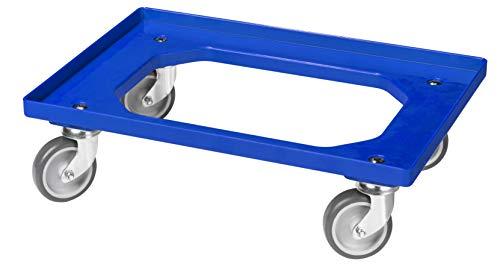 Transportroller für Kisten 60 x 40 cm mit 4 Lenkrollen in blau