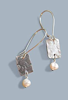 Handmade Lightweight Womens Dangle Rectangle Earrings with White Pearls Beads by Bettina