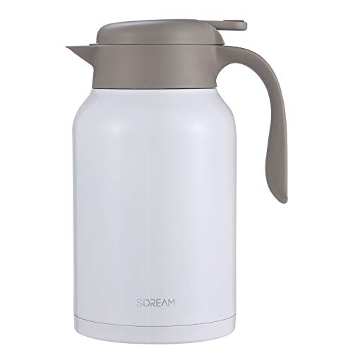 SDREAM 68 Oz Coffee Carafe Thermal Stainless Steel Double Walled Thermal Pots Hot Cold Beverage (off white)