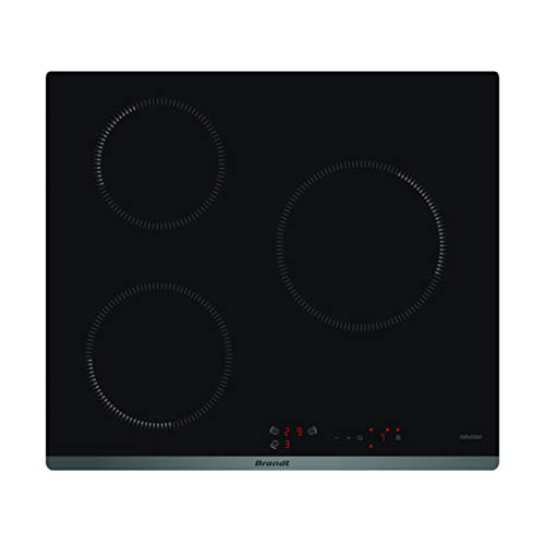 Brandt Bpi6310b - Plaque à Induction - Encastrable - 3 Foyers - 4600w - L58 x P51cm - Revêtement Verre - Noir - Fabrication Française