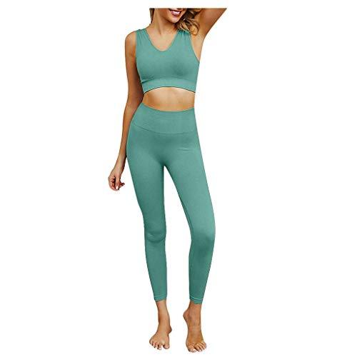 Tuta da donna, 2 pezzi, tinta unita, traspirante, con scollo a V e pantaloni a vita alta, per palestra, allenamento, yoga, controllo della pancia, pantaloni stretti per sport da corsa
