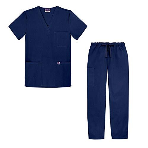 Sivvan Uniforme médico Casaca Cuello en V Pantalones con cordón - S8400 - Navy - 2X