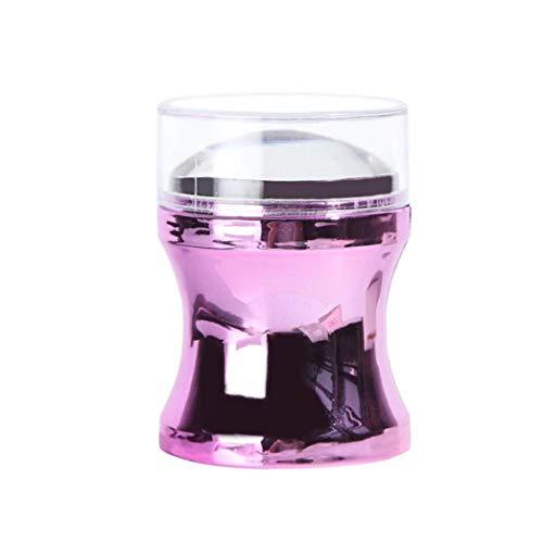 1pc poignée Nail Art Stamper Métal Stamper avec Têtes silicone Diy manucure Imprimer outil Nail Art Accessoires pour usage personnel ou Salon (violet)