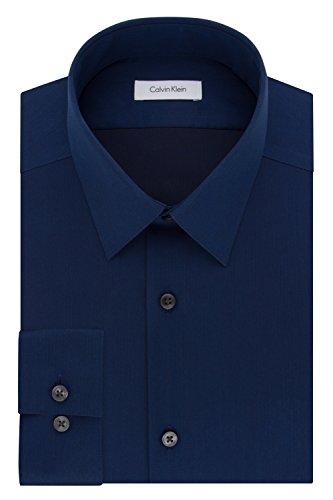 Calvin Klein Men's Dress Shirt Slim Fit Non Iron Herringbone, Blue Velvet, 16