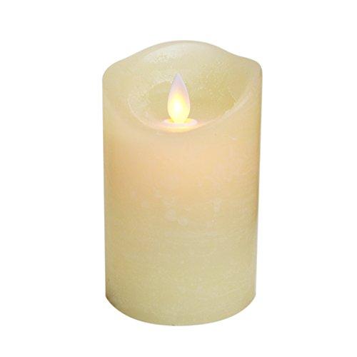 LED echte waskaars met bewegende vlam en timer in ivoor, flikkerende vlamloze kaars 7,9 x 12,7 cm