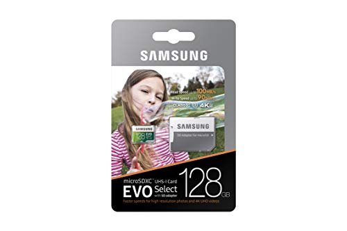 Samsung (MB-ME128GA/AM) 128GB 100MB/s (U3) MicroSDXC EVO Select Memory Card with Full-Size Adapter 6 Ideal for recording 4K UHD video: Samsung MicroSD Evo is perfect for high-res photos, gaming, music, tablets, laptops, action cameras, dslr's, drones, smartphones (Galaxy S10, S10+, S10e, S9, S9+, Note9, S8, S8+, Note8, S7, S7 Edge, etc.), Android devices and more Durability rugged & lightweight; 2 meter drop test rated; IP54 Built to last reliability: Shock proof memory card is also water proof, temperature proof, x-ray proof and magnetic proof