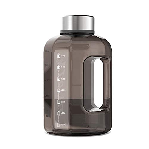 MEILEQI Botella de agua de plástico de gran capacidad de 2500 ml para hombre, para deportes al aire libre, fitness, botella de agua para entrenamiento al aire libre, sala de estar (color: negro)