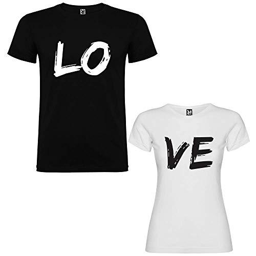 Dalim Pack de 2 Camisetas para Parejas Love (Mujer Tamaño L + Hombre Tamaño XL)