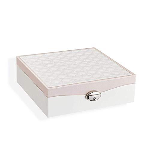 Caja de joyería 22 .4 * 22.4 * 7 cm Pendientes a Prueba de Polvo Collar Caja de Acabado de Gran Capacidad (Color: Rosa) leilims (Color : Pink)