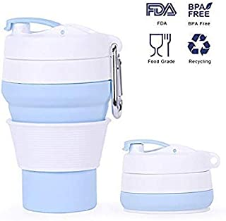 Collapsible Coffee Cup with Lids, Outdoor Foldable Reusable Leak Proof Silicone Water Sport Bottle for Climbing, Hiking, Cycling, Outdoor Sports, Travelling,BPA Free, 12 Oz