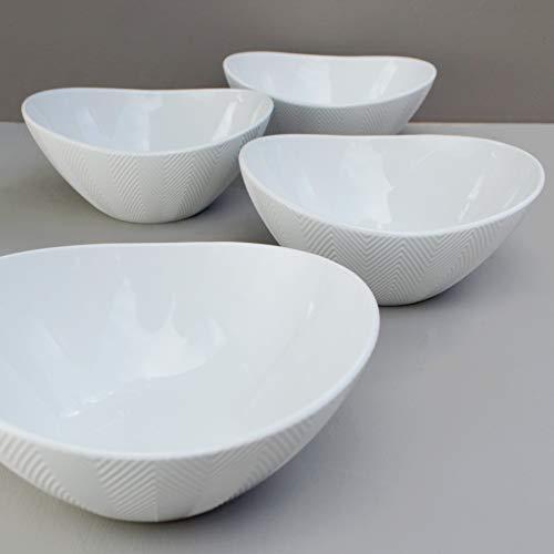 Euro Ceramica Highlands Chip Resistant Salad Bowl Set of 4, Semi Oval Shape Modern Chevron Texture, White for Buddha Bowls Rice Ramen Noodle Soup