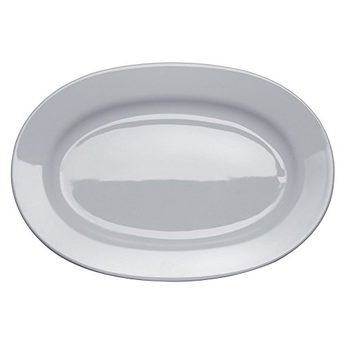 Alessi Ajm28/22 Platebowlcup Plat de Service Ovale en Porcelaine Blanche