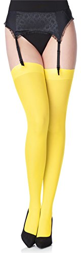Merry Style Collant Bas en Microfibre Lingerie Sexy Sous-vêtements Femme 40 DEN MS 799 (Canarinio, XS-S)
