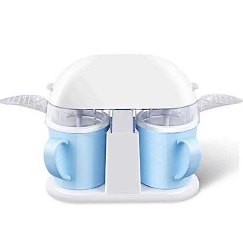 Big Shark Ice Cream Maker, with Detachable Bowl and Mixing Paddles, Household Small Automatic Double Bowls Sorbet Machine Twin Cup Slush Ice Cream Maker