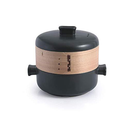 Plato para cazuela de cerámica con Tapa de Jaula de Vapor y Olla de Barro Resistente al Calor apilable con Dos Asas Negro 1.58 Cuartos (Color: Negro, Tamaño: 2.64Quart)