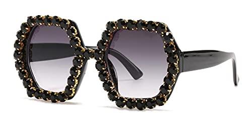 WANGZX Gafas De Sol Cuadradas Irregulares De Diamantes Gafas De Sol De Cristal De Moda Gafas Grandes Únicas para Mujer Uv400 C1Blackgrey