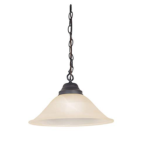 Design House 517664 Millbridge Traditional 1 Indoor Hanging Swag Light with Alabaster Glass Shade for Living Dining Room Bar Area, Oil Rubbed Bronze
