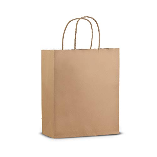 50 Pack - Premium Quality - Trendy Kraft Paper Bags With Handles - Bulk Small Brown Paper Gift Bags, Perfect Kraft Bag, Party Bag or Shopping Bag (8