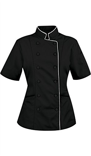 Chef Apparel Short Sleeves only Women's Ladies Chef's Coat Jackets L (for Bust 38-39), Black
