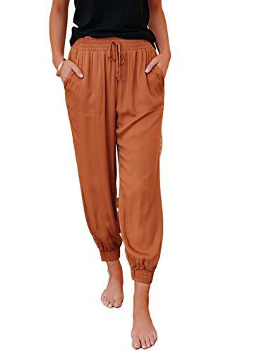 Dokotoo Womens Summer Comfy Casual Loose Lightweight Drawstring Tie Elastic Waist Linen Jogging Jogger Pants Sweatpants for Women with Pockets Orange XL