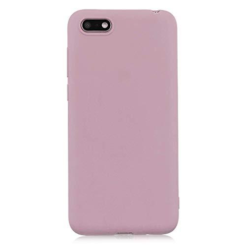 cuzz Custodia Huawei Y5 2018/Y5 Prime 2018/Honor 7S+{Film di Vetro temperato}Silicone TPU Cover Morbida Protettiva Custodia Ultra Sottile Leggero Cover-Loto Rosa