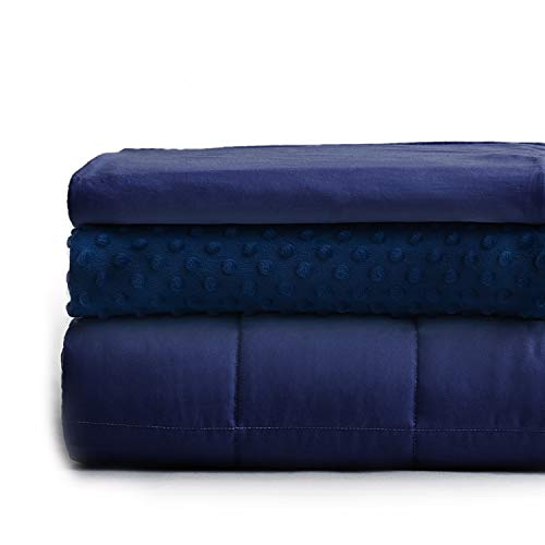YnM Weighted Blanket and Duvet Covers — Hot and Cold Duvet Cover Set (3 Pieces) — (Navy, 60