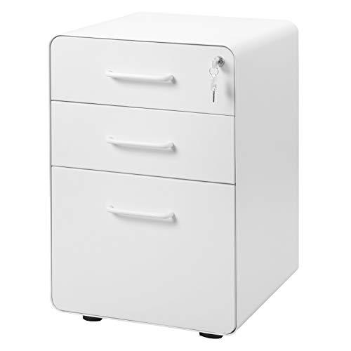 Flieks Stahl Rollcontainer Bürocontainer Rollschrank Schubladenkommode Büroschrank, Rolling Kabinett mit 3 abschließbaren Schubladen, für Hause & Büro voll montiert(Weiß)
