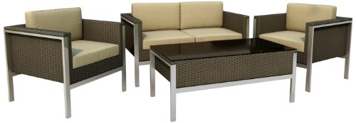 Hot Sale Sonax Z-605-SLP Lakeside Patio Furniture Set in River Rock Weave, 4-Piece