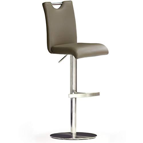 Robas Lund Stołek barowy z oparciem, krzesło barowe Cappuccino, obracany o 360 stopni, taboret z regulacją wysokości, PU BAR.DO
