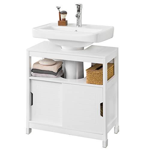 SoBuy FRG128-II-W Mueble para Debajo del Lavabo Armario de Baño de Suelo 1 Estante y 2 Puertas Correderas 60 * 30 * 61 cm ES