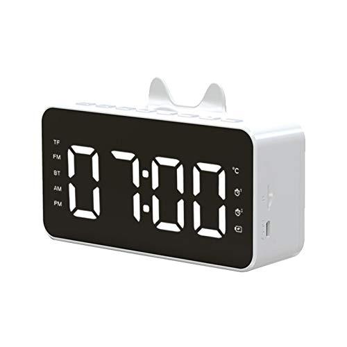 FLOX Nachttisch-Radiowecker mit HD kabellosem Anruf, Bluetooth-Lautsprecher, stumme Temperaturanzeige, Dual-Alarm, dimmbares LED-Display