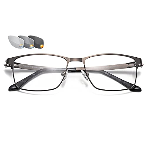 HAOXUAN Gafas de Lectura de Negocios con Marco Cuadrado de Metal fotocromáticas para Exteriores, Gafas de Sol para Hombre, Lector de visión HD, dioptrías de +1,00 a +3,00,Gris,+1.00