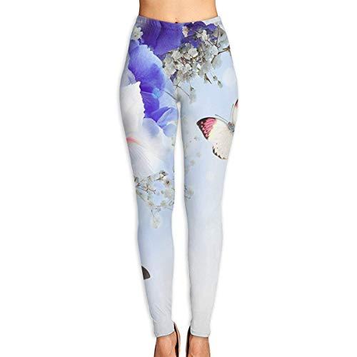 Leggings con Estampado de Flores Azules y Mariposas Azules para Mujer, Leggings de Entrenamiento de Yoga de Cuerpo Entero, Pantalones Capri Suaves