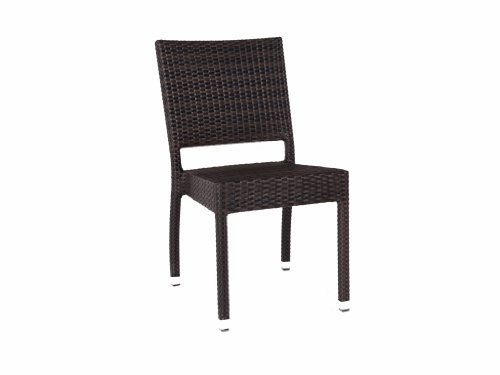 Ascot Stacking Rattan Side Chair - Garden Dining Chair - Outdoor Chairs - Brown and Black Rattan Seat